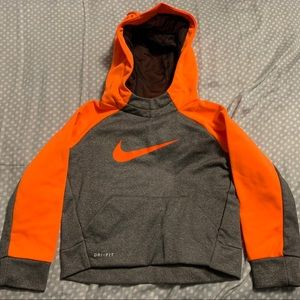 Nike Toddler Grey Orange Dri-fit Hoodie 2T